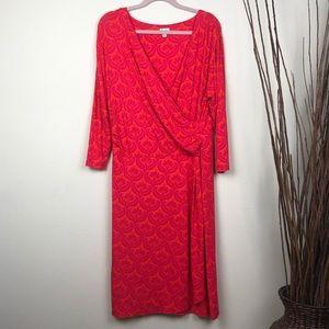 HATLEY | Pink + Orange Midi Wrap Dress